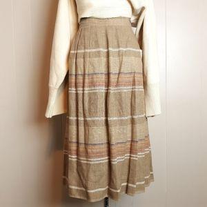 Vintage 70s stripe academia pleated midi skirt